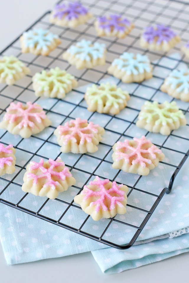 Pastel Snowflake Spritz Cookies