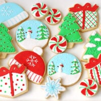 decorated sugar cookies in blues red white and green