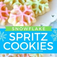 2 image collage with center color block and text overlay top image close up of spritz cookies on white plate and bottom image is a top down view of the cookies