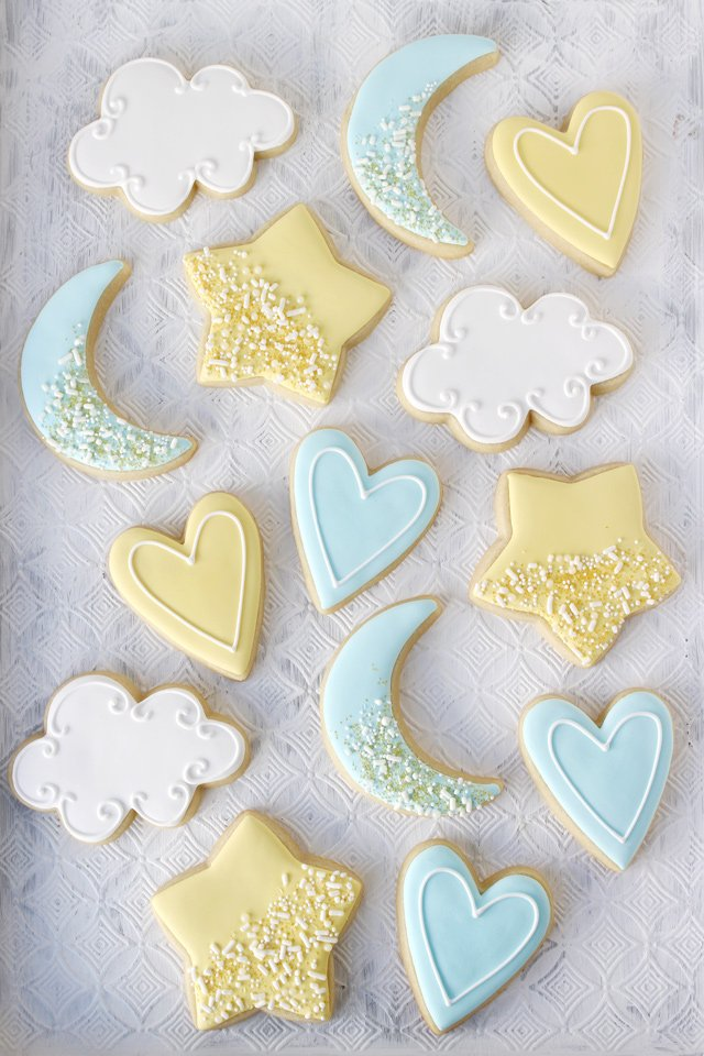 Star and Moon Decorated Baby Shower Cookies