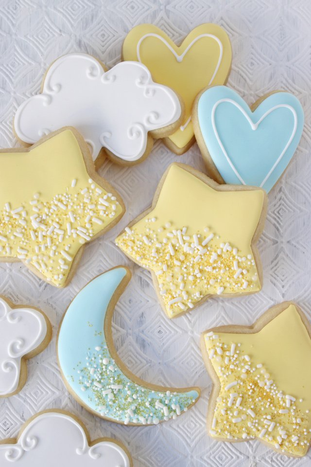 Baby Shower Star and Moon Decorated Cookies