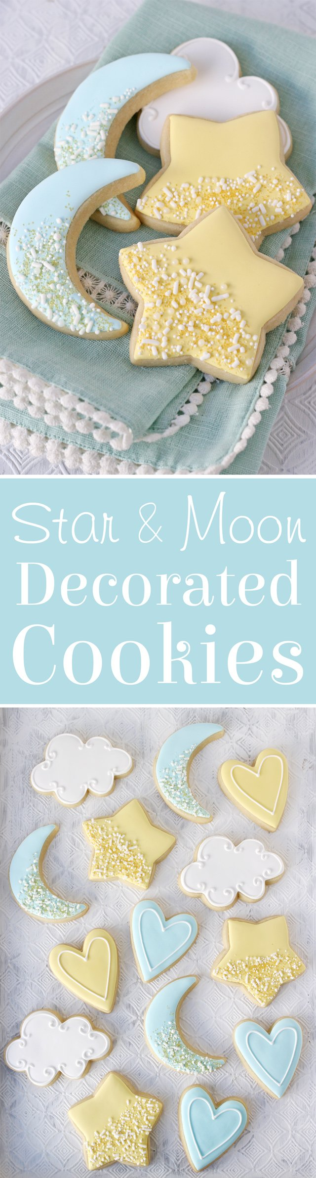 Star and Moon Baby Shower Cookies