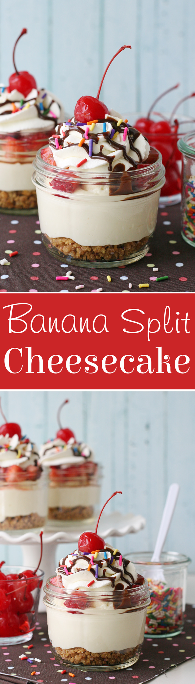 No-Bake Banana Split Cheesecake
