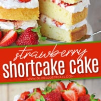 two image collage of strawberry shortcake cake recipe with text overlay