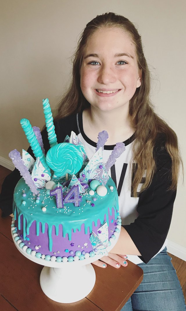Purple & Teal Candy Explosion Cake