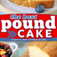 two image collage of sliced pound cake on wood board and piece with cream and fruit on top. center color block and text overlay.