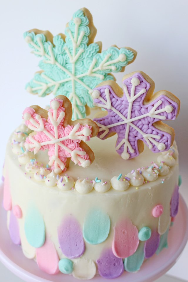 Pastel Snowflake Cake - Perfect for winter birthdays!