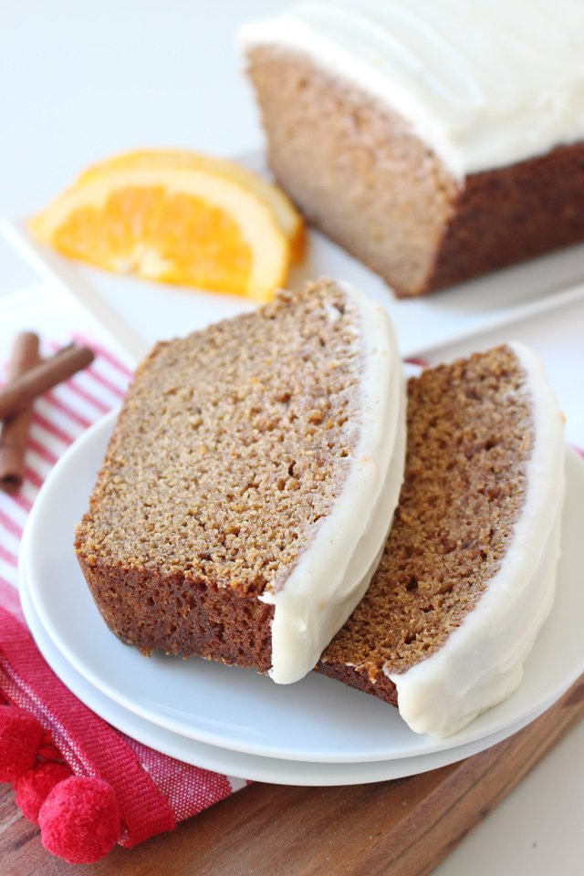 Gingerbread Loaf with Orange Cream Cheese Frosting