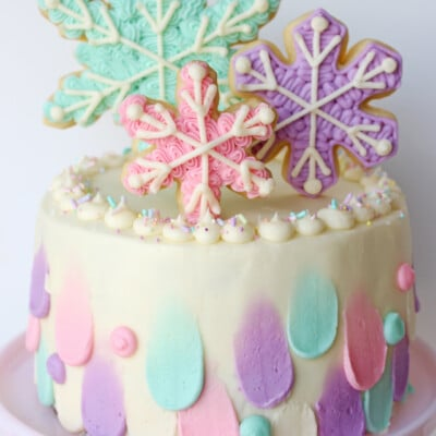 Pastel Snowflake Cake - So pretty for winter parties!