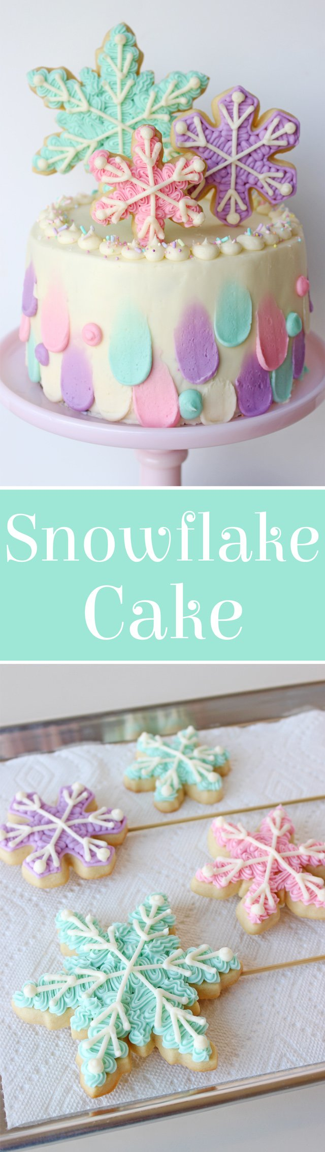 Snowflake Cake with pretty snowflake cookies!