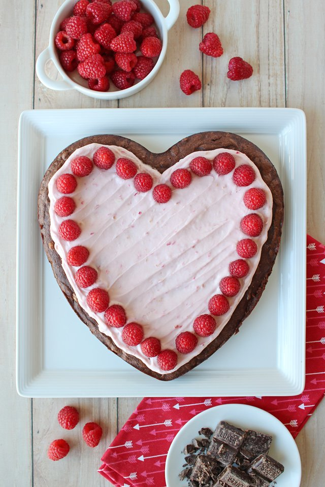 Raspberry Fudge Brownie Heart