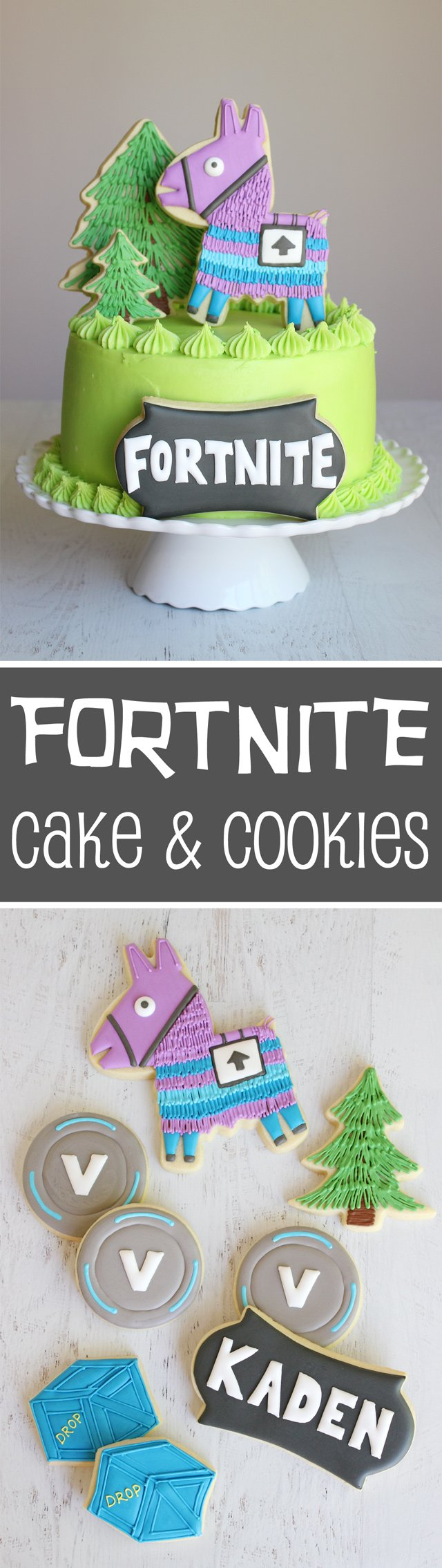 Fortnite Birthday Cake & Cookies