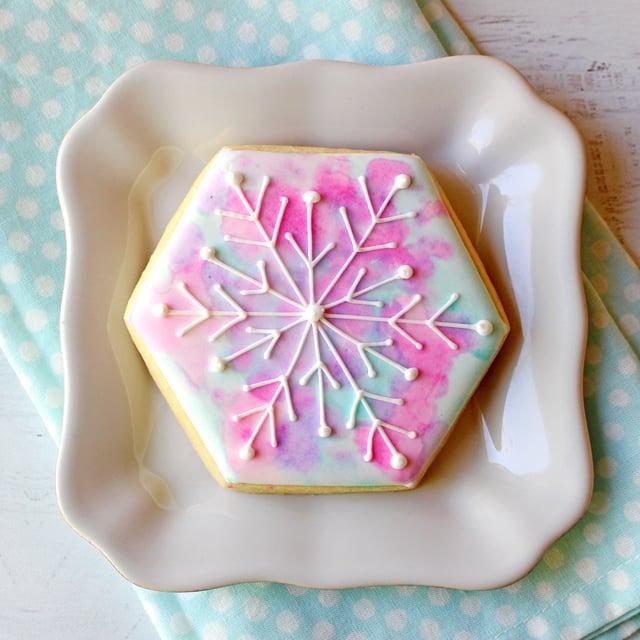 Watercolor Snowflake Cookie