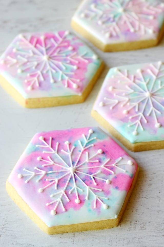 Watercolor Snowflake Cookies
