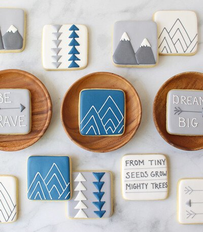 Mountain Baby Shower Cookies