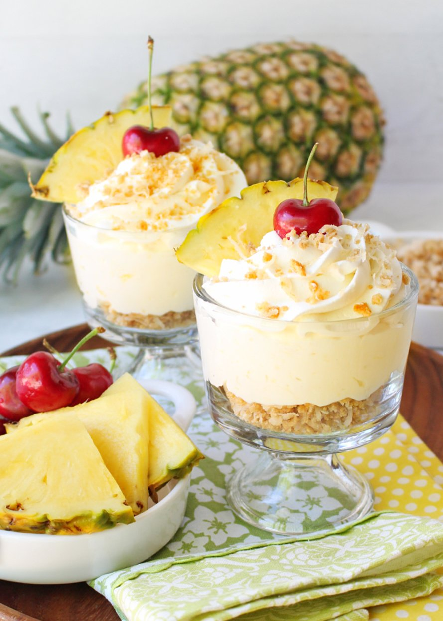 pina colada mousse with cherry garnish