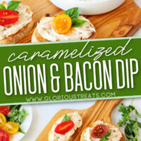 2 image collage of onion and bacon dip in white bowl sitting on wood board