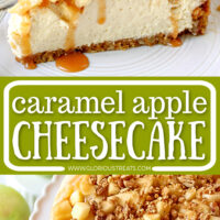2 image collage of caramel apple cheesecake slice on top half and whole cheesecake on the bottom with a centered text overlay