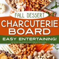 2 image collage of fall charcuterie board with center color block and text overlay top image is an overhead shot of the board and the bottom image is a close up of the board