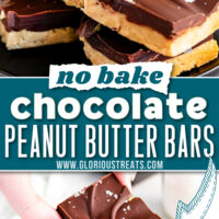 two image collage showing peanut butter bars topped with chocolate on a small black plate. center color block with text overlay.