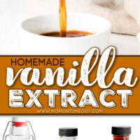 vanilla extract being poured into small white bowl and three bottles of homemade vanilla extract. center color block with text overlay.