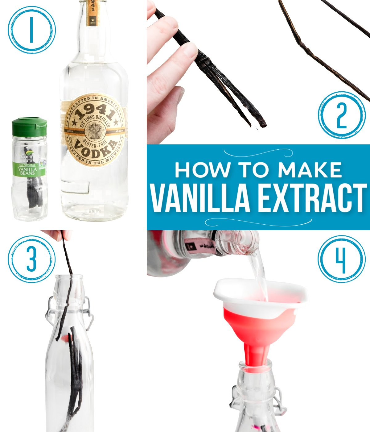collage showing steps of how to make homemade vanilla extract.
