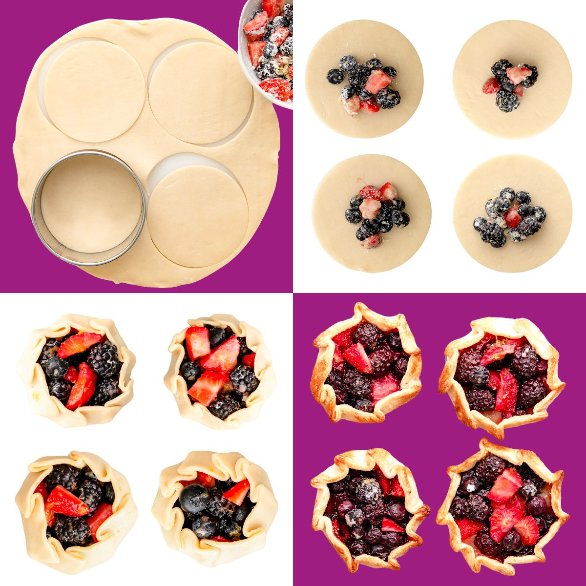 a four image collage showing step by step photos of how to assemble mini galettes.