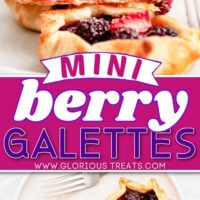 two image collage of mini berry galettes. Top image galette is topped with ice cream and bottom image is a top down view of two galettes. Center color block with text overlay.